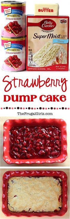 Strawberry Dump Cake Recipe! ~ at TheFrugalGirls.com ~ this EASY dessert is only 3 ingredients and SO delicious!  Just dump it in and enjoy the yummy results! #cakes #recipes #thefrugalgirls