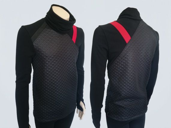Black mens jumper cyberpunk sweater asymmetric sci-fi by ZOLNAR