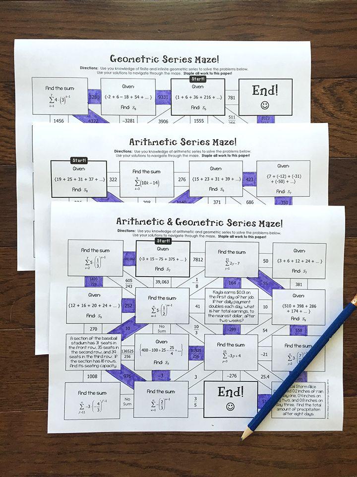 Arithmetic & Geometric Series Mazes
