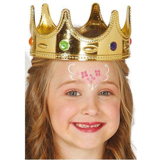 Leuk voor Koningsdag! Koninginnen kroon voor kinderen. Deze gouden prinsessen & koninginnen kroon bevat meerdere kunst edelstenen en is geschikt voor kinderen.