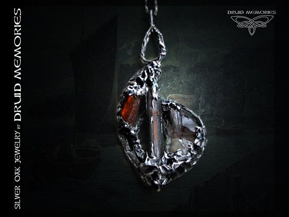 "Old wood, fire kyanite and mountain quartz pendant ""Quantum May"", powerful druid amulet, mens pendant, womens pendant."