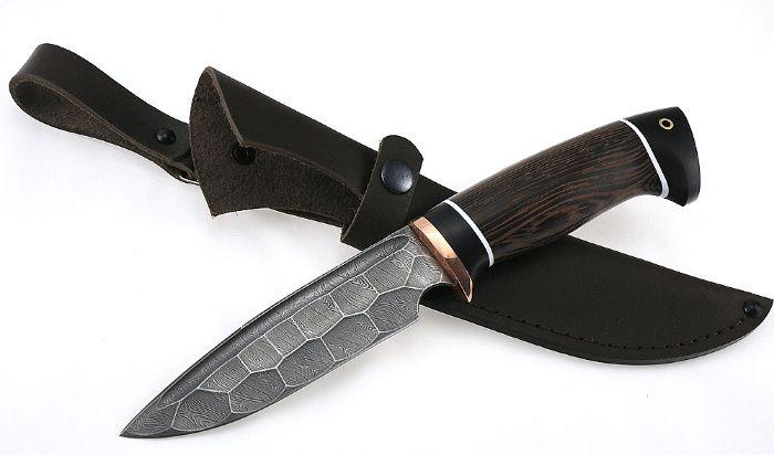 Нож Походный сталь дамаск полный камень рукоять венге черный граб