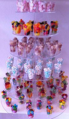 Espectacular para tu candy Bar! Vasos transparentes rellenos de chuches