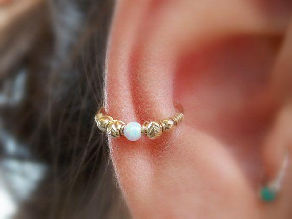 Conch Earring - Helix Hoop Earring - Conch Earring - Opal conch piercing - gold filled hoop - big hoop -10-16mm Inner Diameter Hoop