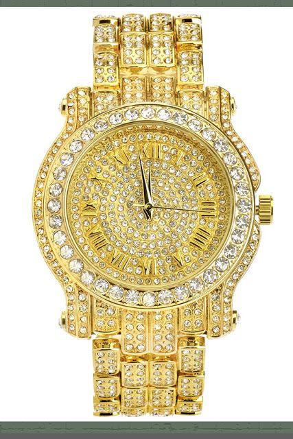 Metaltree98 Techno Pave 7341 G Men's Hip Hop Full Stone Metal Band Watch Gold plated Price:     $18.99 & FREE Shipping  #LuxuryDiamondWatches #LuxuryWatches