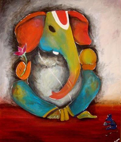 GANESH PAINTINGS, GANESH ART, HINDU ART http://www.designsbydinachopra.com/