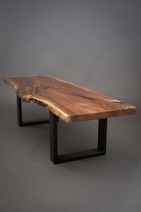 Ihre CUSTOM schwarz Nussbaum Couchtisch-Größe Medium – Live Edge – Platte Holz