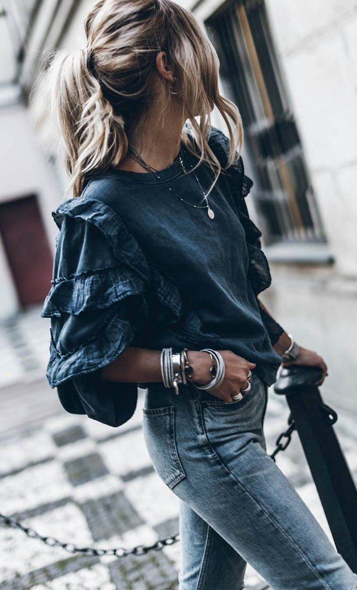 simple outfit / top + jeans