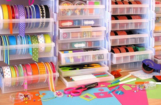 Lots of ideas for organizing ribbon