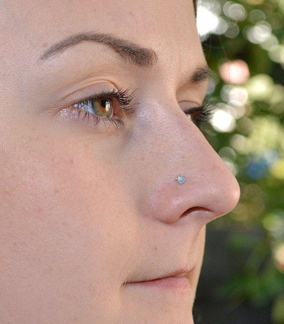 2 mm vert opale nez Stud 18g anneau de nez par BrightBDesigns