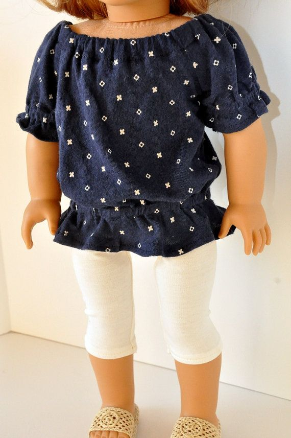 American Girl Doll Clothes Trendy Navy Blue Print by CircleCSewing, $14.00