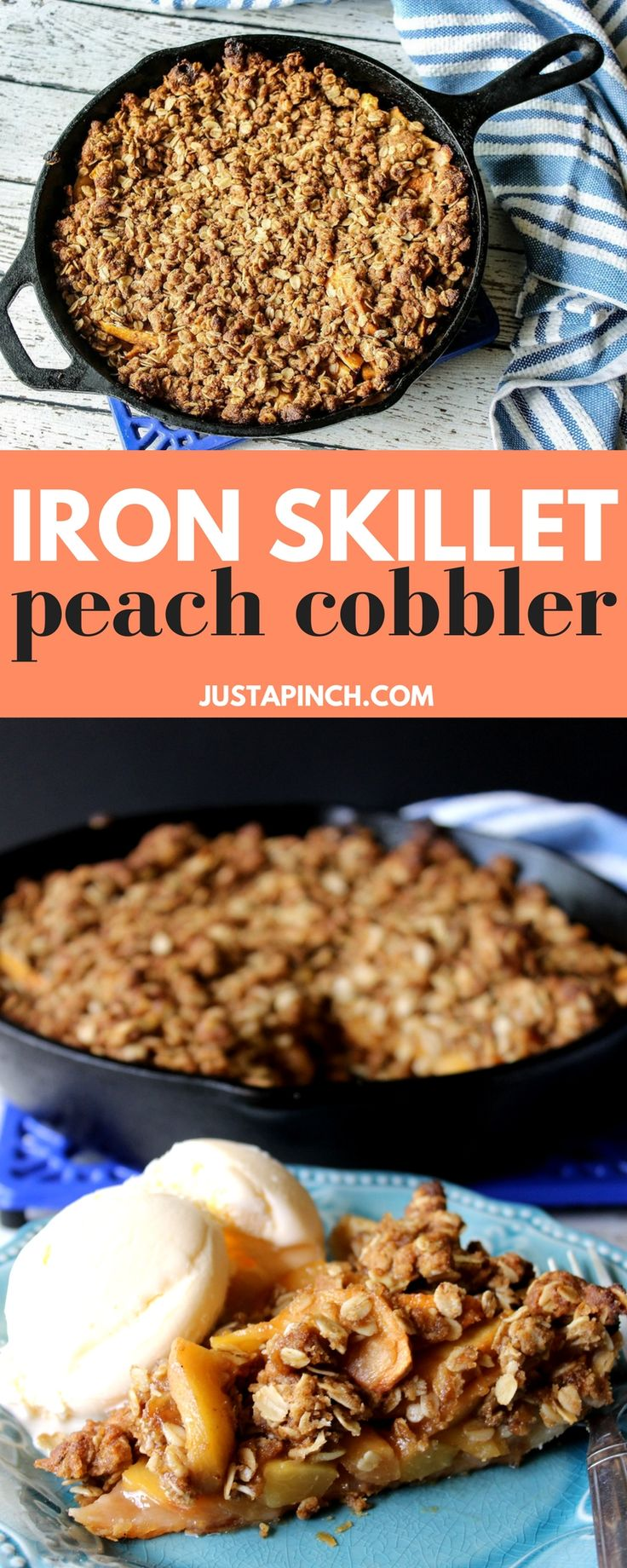 We loved this simple peach cobbler. Cooking in a cast iron skillet cooks the crust perfectly. The fresh peaches have just enough sugar to let their natural flavors shine. An oatmeal topping adds a nice crunch and sweetness. It's a quick and simple way to make a cobbler. Delish!