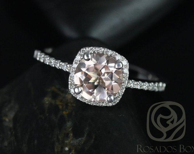 Barra 7mm 14kt morganita redondo oro blanco y diamante cojín Halo anillo de compromiso (otros metales y piedra opciones disponibles)