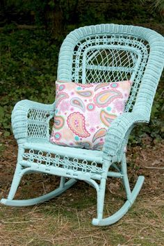 Refurbishing a White Wicker Rocker--I love this. And this is precisely what I want to do with my two matching antique white wicker rockers, but in Dutch Boy's witchita. Can't wait!
