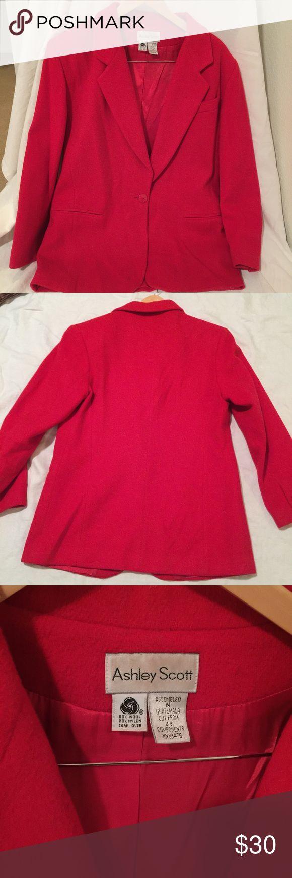 Vintage Ashley Scott Red Wool Blazer Medium Preloved and in great condition! Ashley Scott Jackets & Coats Blazers