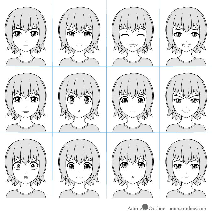 Real Human Anime Girl: Anime Facial Expressions Chart With 12 Expressions