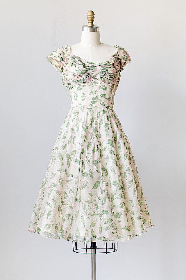 vintage 1950s silk organza leaf print party dress