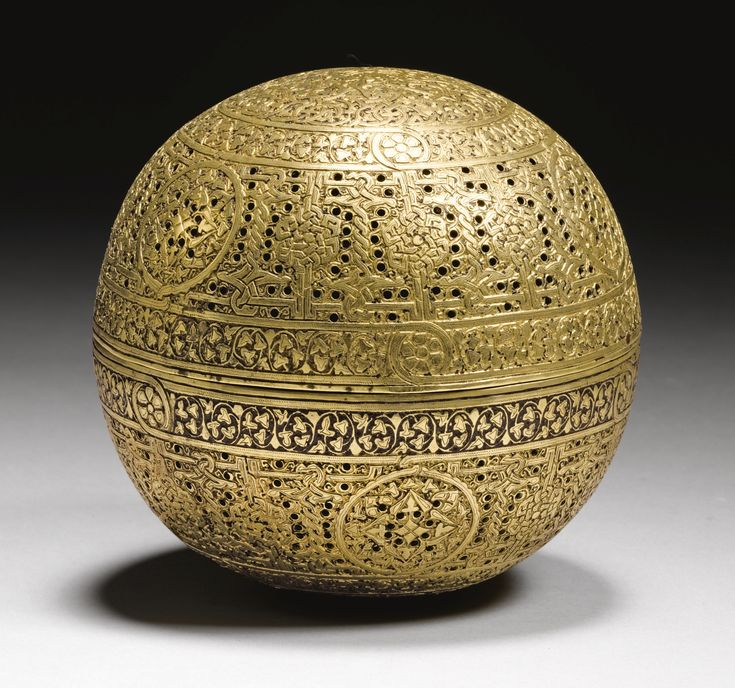 A MAMLUK SPHERICAL BRASS INCENSE BURNER, SYRIA, 15TH CENTURY