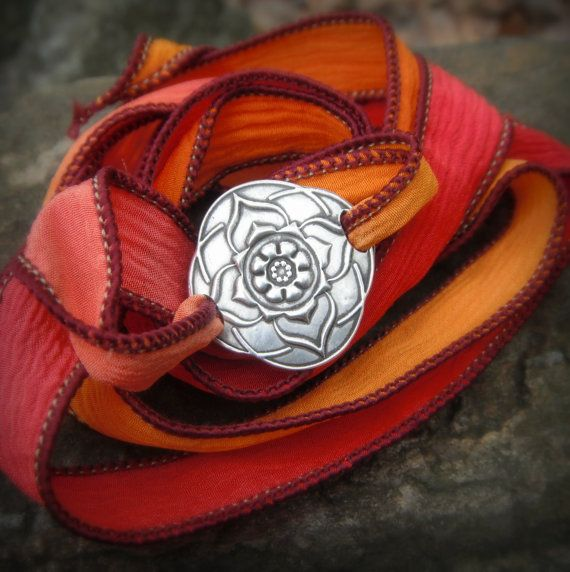 Yoga Jewelry  Boho Silk Wrap Bracelet Lotus Mandala  by SilvanArts, $45.00