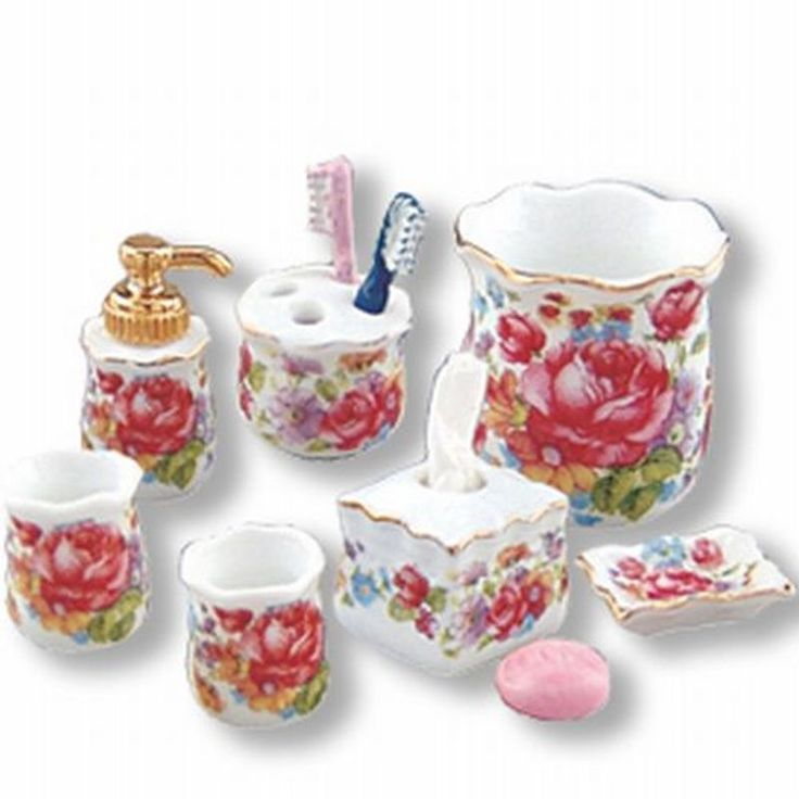 DOLLHOUSE Bath Items 16178 Reutter Dresden Rose