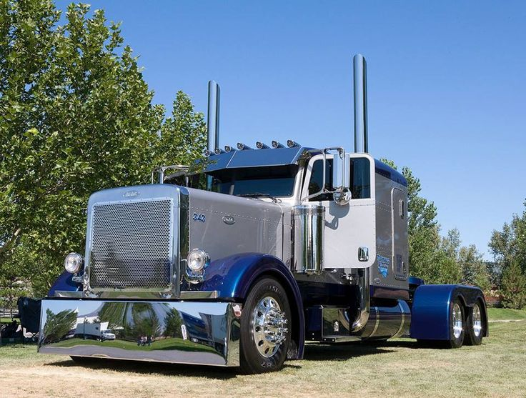 Custom Semi Truck Fenders : Grey blue peterbilt custom color guide
