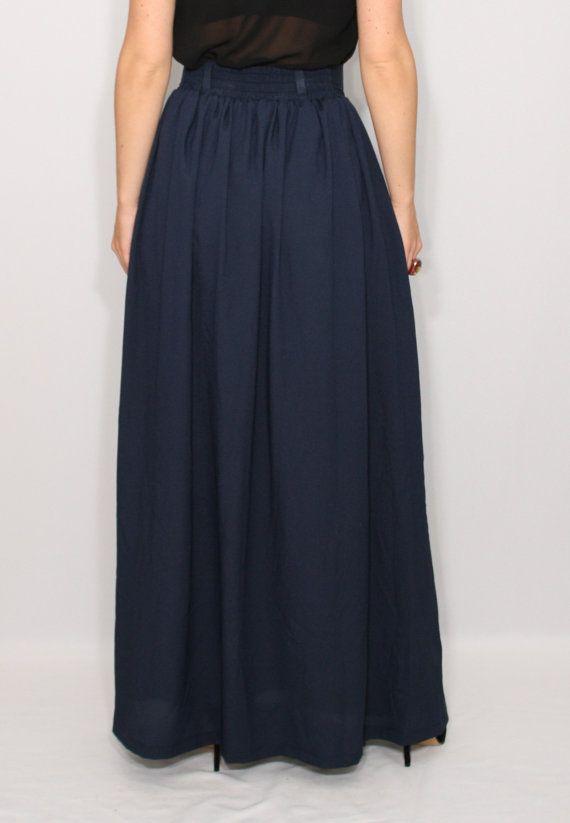 Navy skirt Women Chiffon maxi skirt High waisted maxi by dresslike