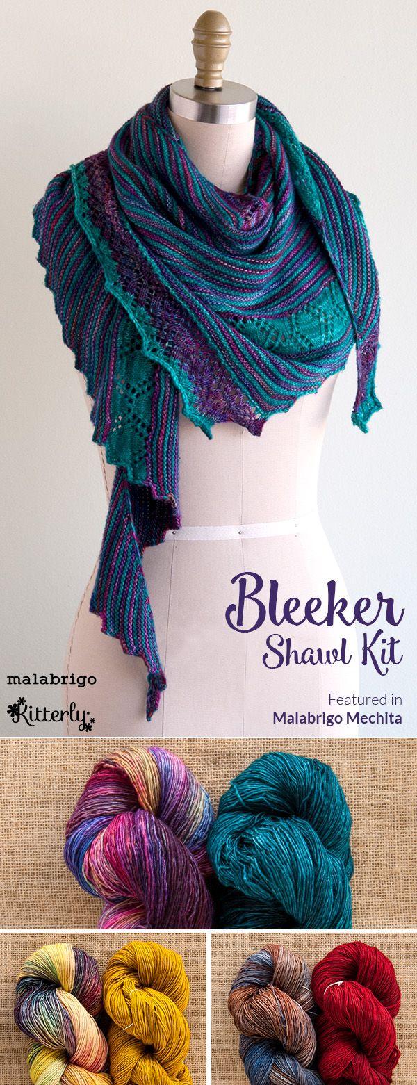 Bleeker is a striped asymmetrical shawl, designed by Anniken Allis, using two colors of Malabrigo Yarn Mechita. #kitterlykits