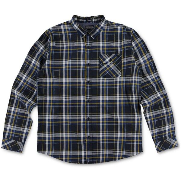 O'Neill Men's Olson Plaid Shirt ($55) ❤ liked on Polyvore featuring men's fashion, men's clothing, men's shirts, men's casual shirts, navy, mens navy shirt, mens bib overalls, mens plaid shirts, mens tartan shirt and mens overalls
