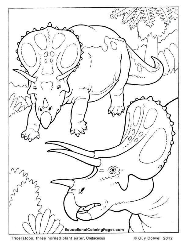 Triceratops Coloring Pages Dinosaur Colouring