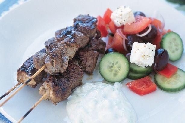 Lamb skewers with tzatziki
