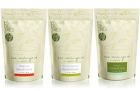 Technique : Ce packaging permet une nouvelle façon d'acheter du thé : des sachets recharges contenant 100 à 500g de thé en vrac (renforçant l'authenticité et le naturel) destiné à remplir des boites vendues séparément pour le conserver joliment. L'intérêt est de limiter la production d'emballages et ainsi de proposer une façon éco-responsable d'acheter du thé. Les sachets sont de plus entièrement recyclables. Le packaging reflète ainsi le positionnement écologique de la marque.