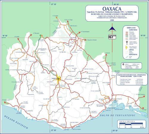 Oaxaca Mexico Road Map