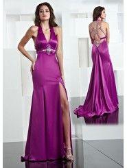 Satin V-neck Hand-Beaded Bodice Long Prom Dress