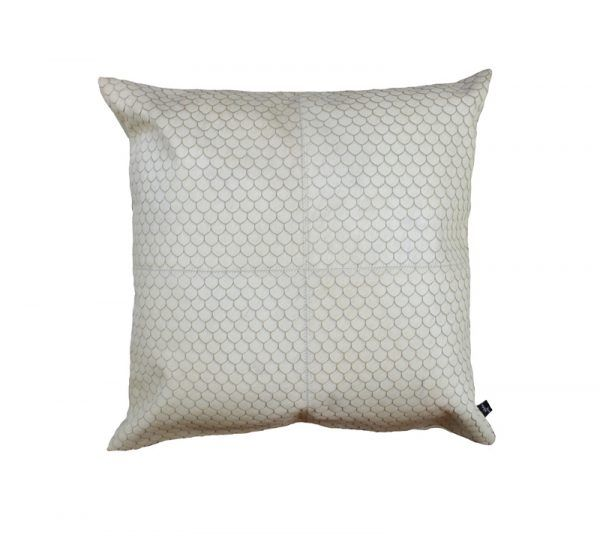 ZEUS CUSHION - CREAM Our most popular burn features on this beautiful Zeus cushion. Its shell style repeat design adds texture and warmth to any interior. A versatile statement cushion perfect for all rooms.  This cushion has been hand made by skilled artisans, each cushion is unique and one of a kind.  Cushion measures 50 x 50cm. Available with the option of Canvas or Suedette backing.  PET Fill included.