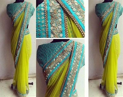 Parrot Green Georgette Saree With Brocade Blouse Sarees on Shimply.com