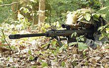 A U.S. Army sniper using an M107