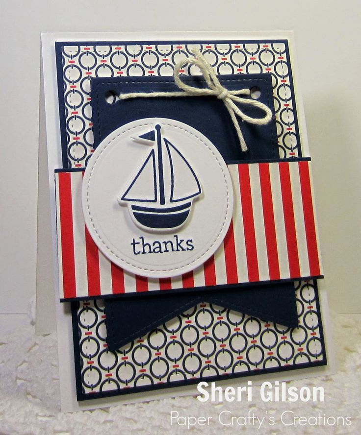 hand crafted card from Paper Crafty's Creations ... red, white and blue ... sailboat thanks ... patterned papers ... great layout ...