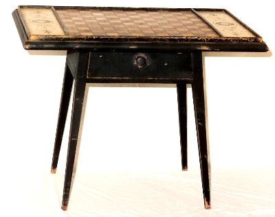 Game Table In Antiqued Milk Paint Finish With Antique Gameboard Top