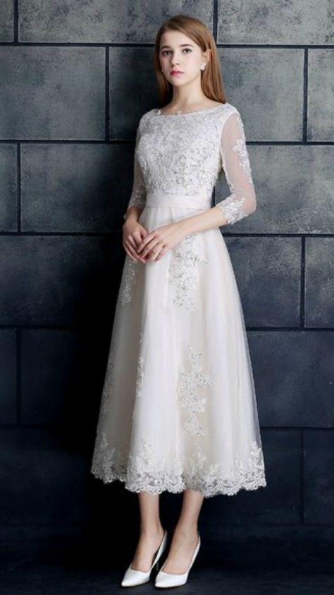 e78204be03d Vintage Tea Length Wedding Dress 3 4 Sleeve Lace Tulle A-line White ...