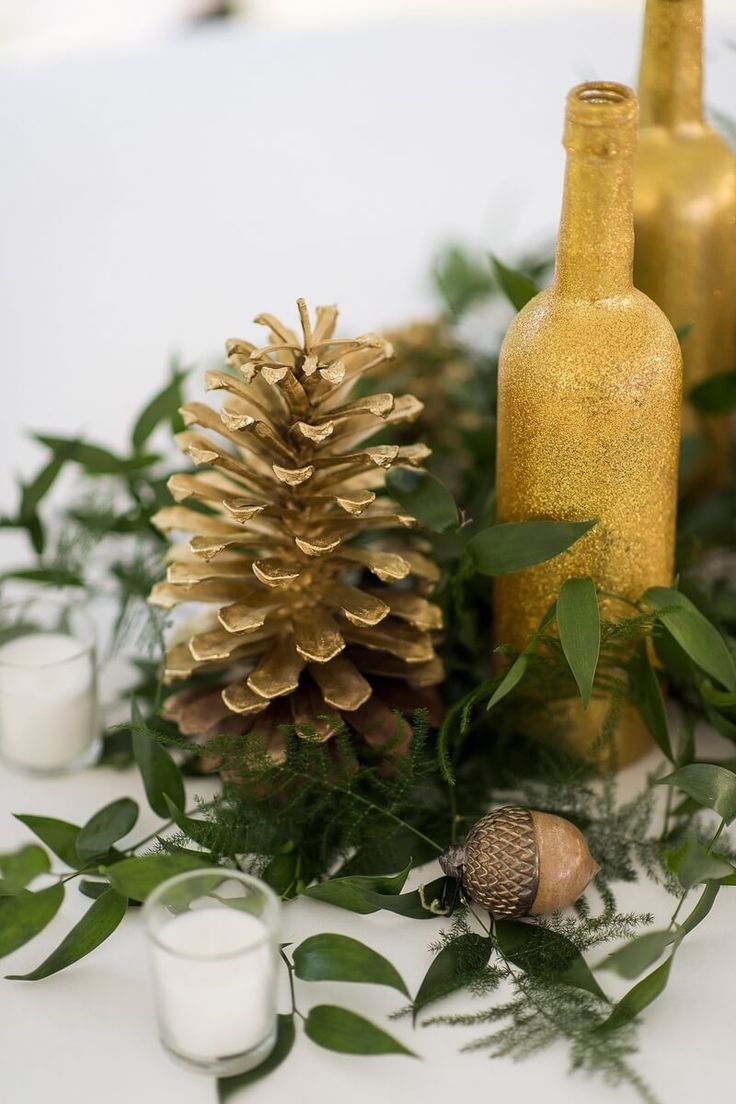 Greenery and Pine cone wedding centerpiece