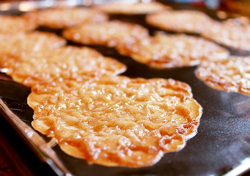 Sweet Lace Crisps. A german woman made these for us. She made them very small and bagged up a bunch for us and they were delish! (I would prolly use 1/2 tsp. of batter per cookie since the ones we had were about that small.