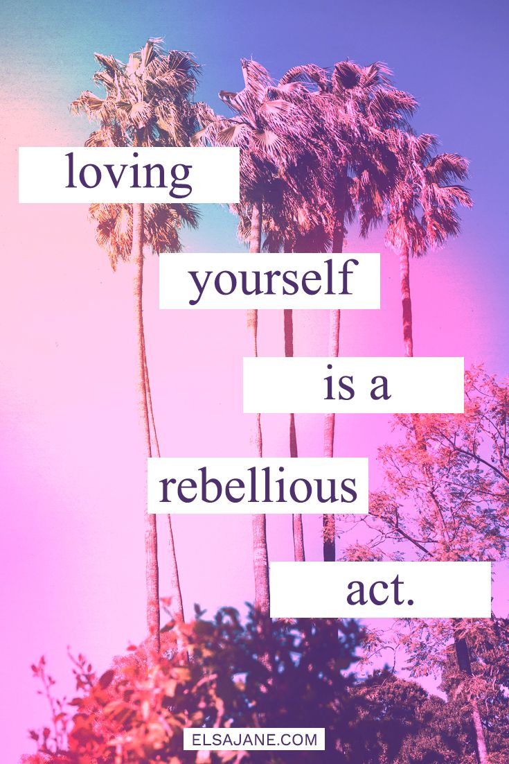 """Loving yourself is a rebellious act"" love this body positive quote with pink neon tumblr aesthetic typography"