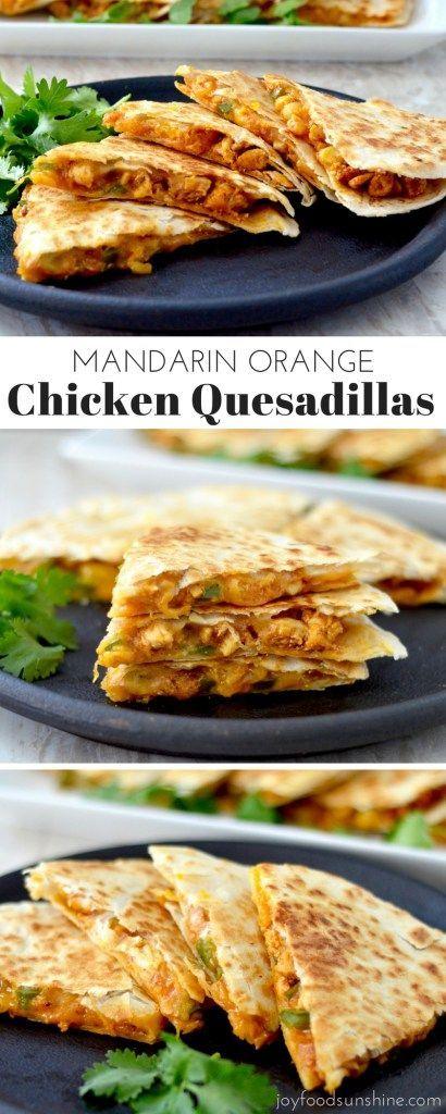 Mandarin Orange Chicken Quesadillas! A quick, easy, delicious dinner recipe that…