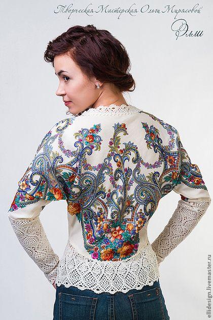 """Блуза """"Василиса"""" - цветочный,павловопосадский платок,100% ручная работа"""