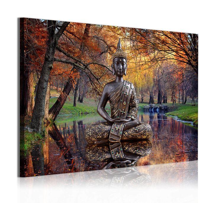 Cuadro Moderno, 1 pieza, Buda en arboleda tonos tierra , 140X90cm. Cuadros de buda modernos y baratos en Dekoarte. Tienda decoracion online de novedades.