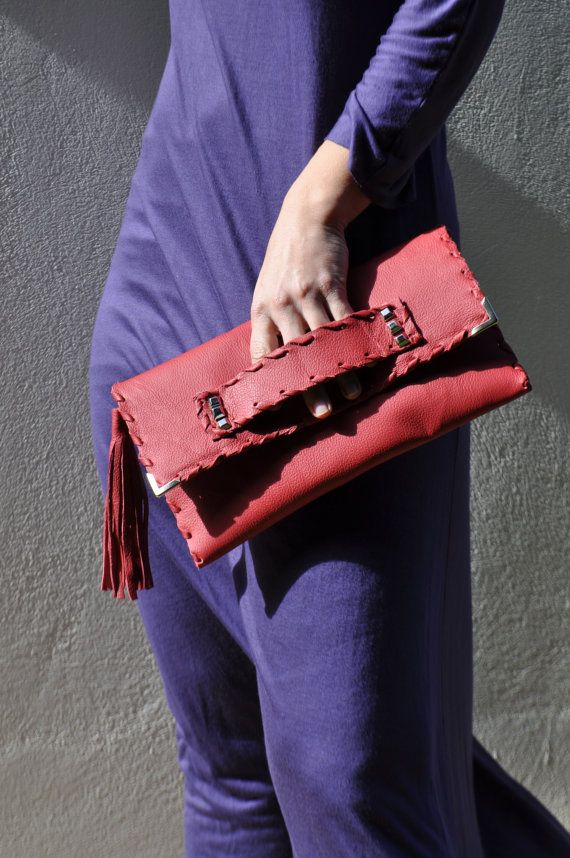 Red Studded Clutch  Leather Bag Evening by ElenLovelyCollection, €50.00