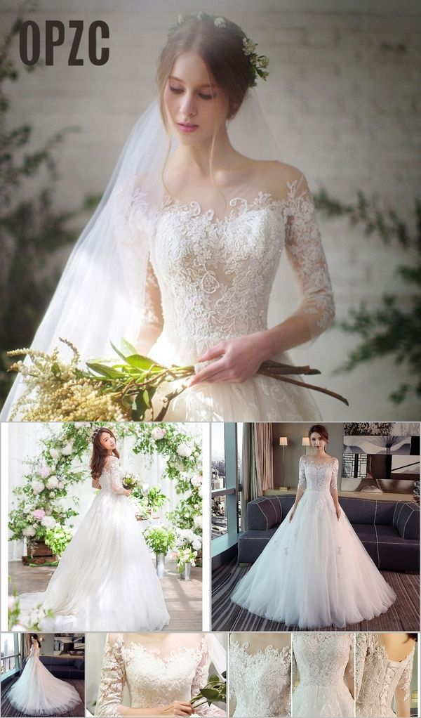 5c8a6d88e0 New Fashion Simple 2018 Wedding Dresses Lace Three Quarter Sleeve O ...