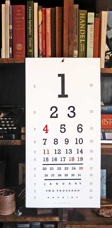Eye Calendar by Numbered Type