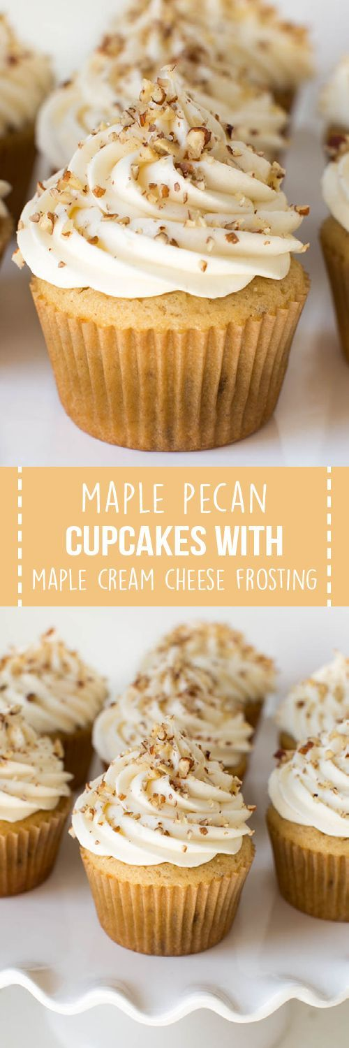 Maple Pecan Cupcakes with Maple Cream Cheese Frosting include a maple vanilla cupcake topped with maple cream cheese frosting and crunchy pecans! Enjoy this tasty cupcake any time of the year.