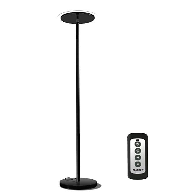 Tenergy Torchiere Dimmable Led Floor Lamp Remote Controlled 30w